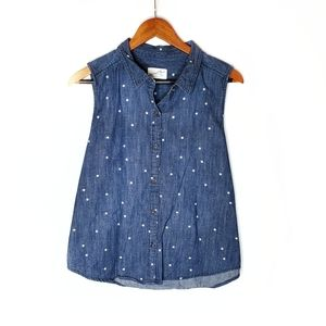 Universal Thread Stars Denim Chambray Button Tank